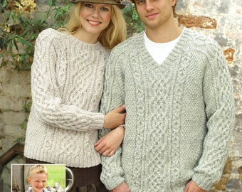 Family Aran Sweaters with Round Neck, V-Neck or Shirt Neck, Vintage Knitting Pattern, PDF, Digital Download