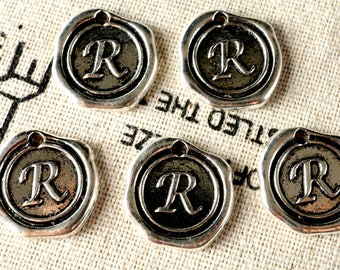 Alphabet letter R wax seal charm silver vintage style jewellery supplies