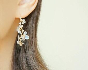 Moonstone and Pearl Vine Earrings, Nature Inspired  White Wedding Jewelry, June Birthstone Jewelry