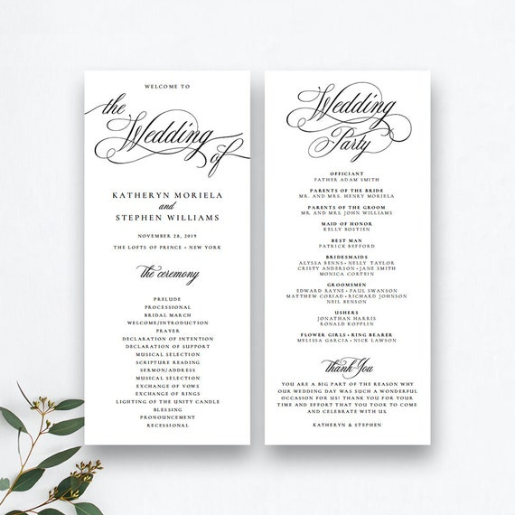 Classic Elegant Wedding Programs Template Wedding Ceremony