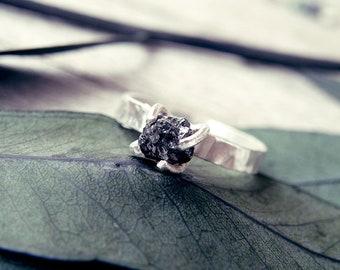 Black diamond ring, Raw diamond ring, raw stone engagement ring, rough diamond ring, minimal ring, promise ring, engagement ring, raw stone