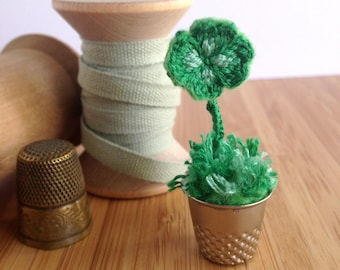 Lucky Four Leaf Clover Thimble - 3D Stumpwork Hand Embroidery - Mixed Media Sculpture - Miniature Charm