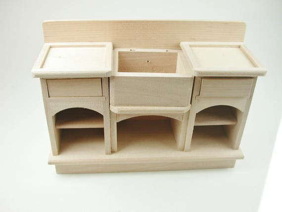 Kitchen desk with sink, for the doll parlour, the doll's House, Dollhouse miniatures, cribs, miniatures, Model Building # v 22038