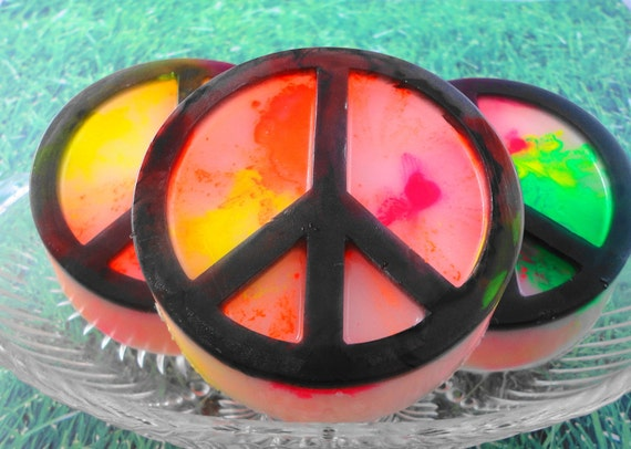 Tie Dyed Peace Symbol Soap All Natural Glycerin Soap
