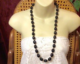 Black oval raised design acrylic beads beaded necklace.