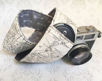 DSLR Camera Strap, Padded, Lens Cap Pocket, Nikon, Canon, DSLR Photography, Photographer Gift, Boho Strap - Maps and Gray Arrows