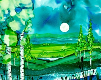 Alcohol Ink Full Moon Print by Karen Wysopal