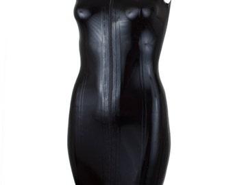 SAMPLE Latex  Black Collar Dress