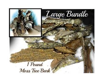 Bark, moss bark -  Tree Bark, Lichens, Wood Bark, rustic wood supply - craft bark - weathered bark - bulk lot of bark -   #15