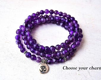 108 Amethyst Mala Beads Necklace, Buddhist Prayer Beads, Om Necklace, Yoga Jewelry - Healing & Protection, Lotus, Elephant, Tree, Hamsa