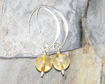 Citrine Earrings, Sterling Silver Earrings, Natural Stone Earring, Yellow Earrings, Gemstone Earrings, Handmade Earrings, Holiday Earrings