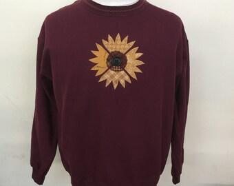 Sunflower Applique & Button Crewneck Sweatshirt - Burgundy