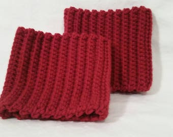 Red Ribbed boot cuffs