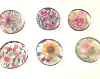 Glass Flat Marble Magnets Floral x6, Pretty Flower  Magnets, Gift for Female, Gift Under 10