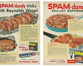 Set Of TWO 2 Original Vintage 1950s Spam Canned Meat Recipe Magazine Print Ads