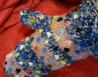 Multi color thrummed mittens