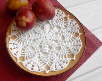 Small crochet doily White crochetted doily Cotton lace doilie Small crochet doilies Crochet coasters 358