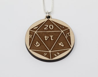 D20 Dice Pendant Necklace