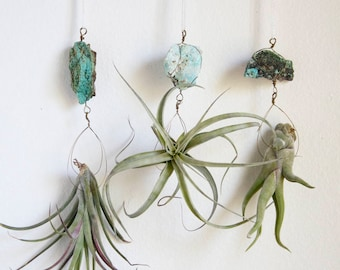 Air Plant Hanger, Natural Boho Decor, Chrysocolla Crystal Airplant Holder, Wire Wrapped Turquoise Color, Wall Planter, Goddess Energy