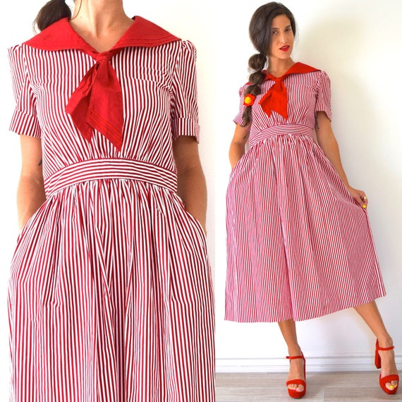 Vintage 90s does 50s Red and White Striped Full Skirt Shirt Waist Dress with Sailor Collar (size medium, large)