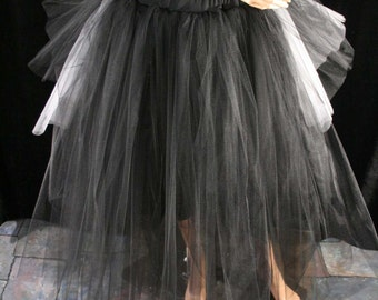 Adult tulle tutu skirt Floor length Black with bustle back white jack Halloween prom bridal Gothic goth wedding dance - All Sizes- SOTMD