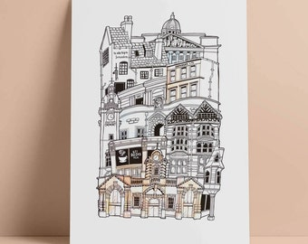 Nottingham A4 Illustrated Stacking cityscape print