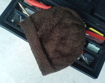 Brown Mens Hiking Hat Alpaca Beanie Womens Wool Hat Light Thin Hand Knit Hiking Skiing Snowboarding Jogging Cap (One Size - Made to Order)