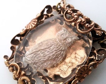 Owl necklace, owl jewelry, vintage filigree jewelry,  bird jewelry, owl pendant necklace, copper brass necklace, statement necklace