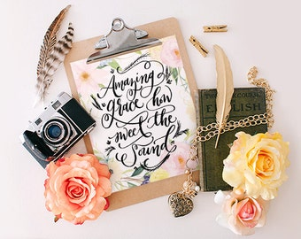 Watercolor Bible verse print, Printable Wisdom wall art print, Hymn printable art, Amazing Grace typographic print, calligraphy