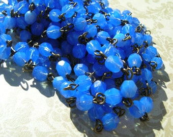 BC213 Handmade Linked Beaded Chain with Milky Hydrangea blue lavender 6mm Faceted Czech Glass Beads