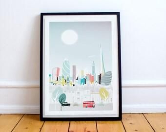 London Print, Travel Print Wall Art, Modern City Poster, City Scape Print, London Art, London Print, London Poster, London City Poster