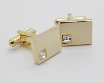 1980s Rectangle Gold Plated Cuff Links with Square Diamante Details Cufflinks