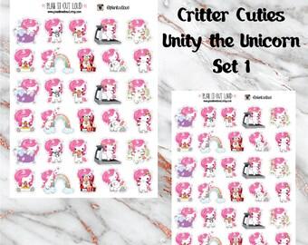 Critter Cuties Unicorn SET 1 Stickers  (planner stickers)