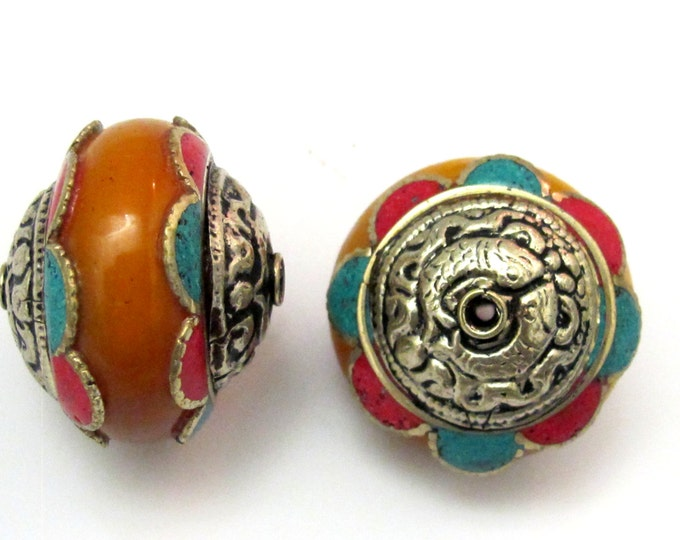 2 Beads - Large Tibetan silver capped copal Resin bead with turquoise coral inlay and tibetan golden fish design  - BD617