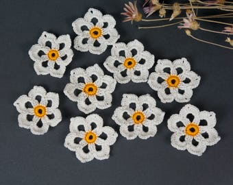 Crochet flower, Knitted flower, 8 pcs, Flower application, Crochet flower motif,  Scrapbooking flower, Decorate  flower, Cloth accessory.