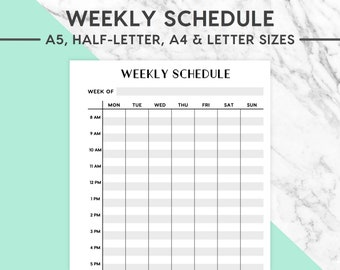 NEW! WEEKLY SCHEDULE Printable | Classic, A5, Half-Letter, A4, Letter, Week Schedule, Weekly Plan, Week Overview,