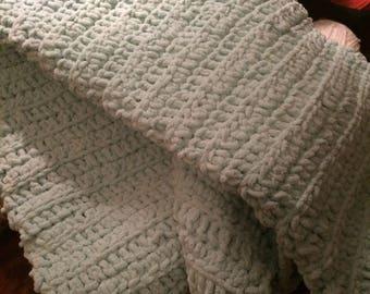 Mint Green Hand Crocheted soft baby blanket