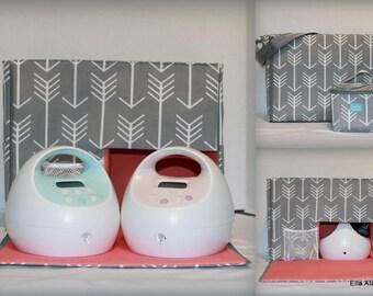 Ella Style Spectra Breast Pump Bag in PP Arrows Gray with zipper top closure
