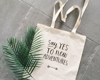 Wanderlust tote bag travel say yes to new adventures quote canvas bag