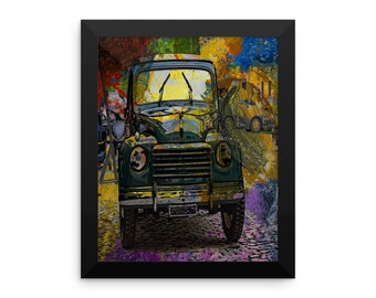 vintage cars cuba oil painting Framed poster