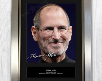 Steve Jobs Framed Signed Autograph Reproduction Photo A4 Print