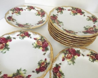 Mother's Day, Gift for momVintage Royal Sealy China  plates set roses ang gold set of 10