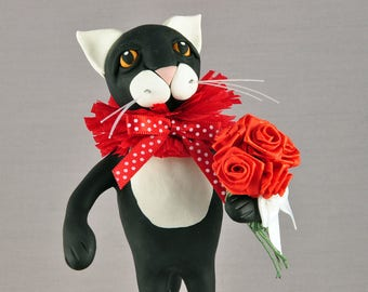 Black and White Tuxedo Cat Polymer Clay Figurine