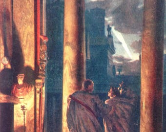Ides of March Print / Antique Astronomy Print / Comet Print / Julius Caesar/ Unusual ephemera /Comet Lithograph / Antiquity print