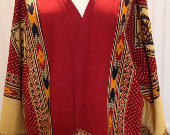 Vintage up-cycled Kimono red gold black tablecloth south western print large cotton kimono jacket 3 quarter sleeves gold fringe repurposed