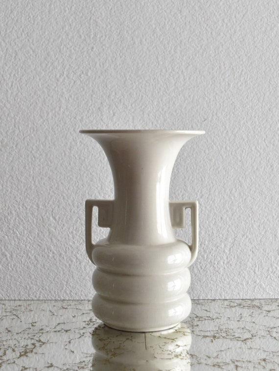 mid century modern abingdon art deco white ceramic vase with handle / flower pot
