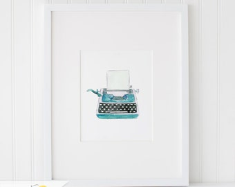 Watercolor Vintage Typewriter, Watercolor Painting, Wall Art Print - Art Drawing Watercolor Print - 5x7, and 8x10