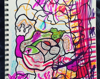 Ink and Marker Drawing on Paper 2018