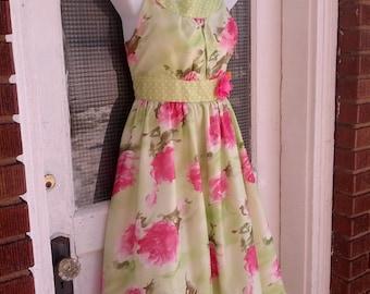 Vintage 90s Spring Floral Easter Junior Miss Garden Party Dress Size 14