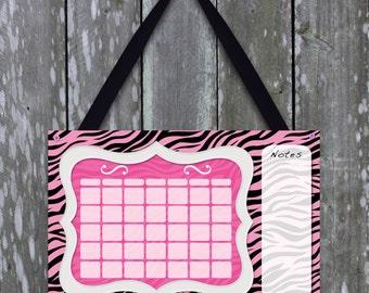Cute pink and black zebra print dry erase calendar for girls